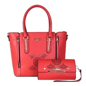 ✤ Sandrine Tote Bag/Wallet Two Piece Set [RED]